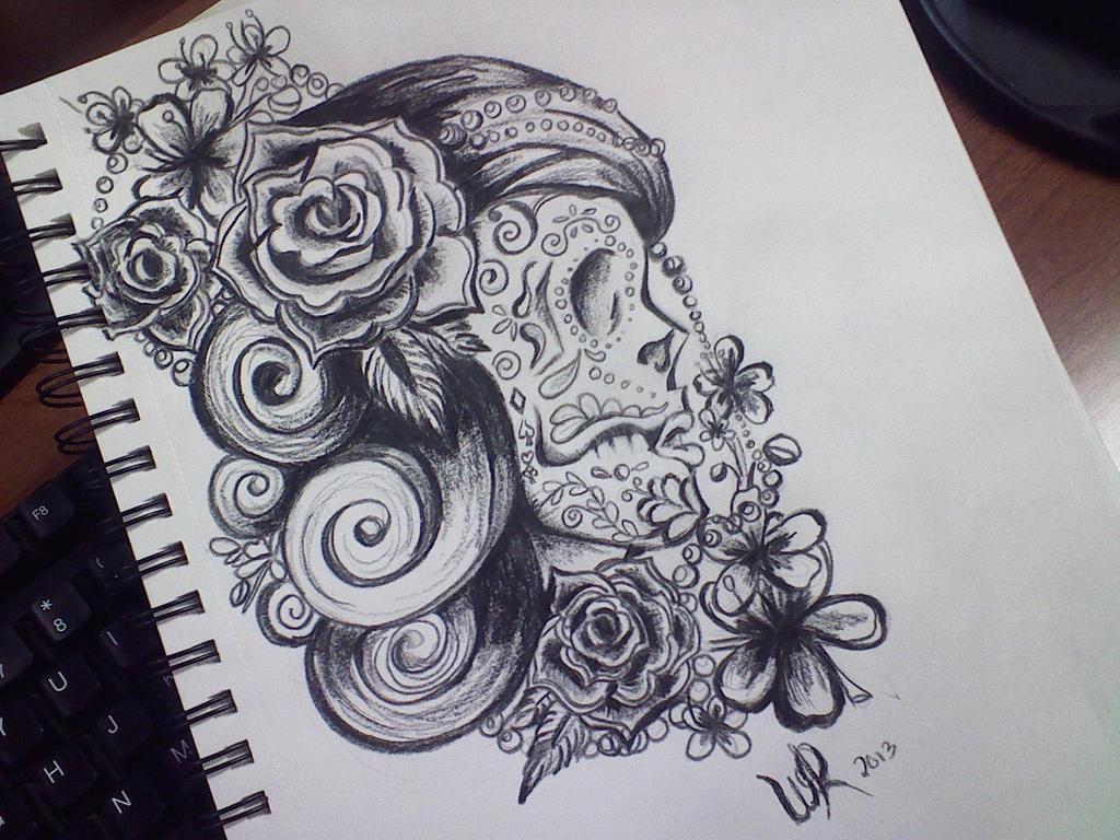 sugar skull design sketch by ayeri on deviantart