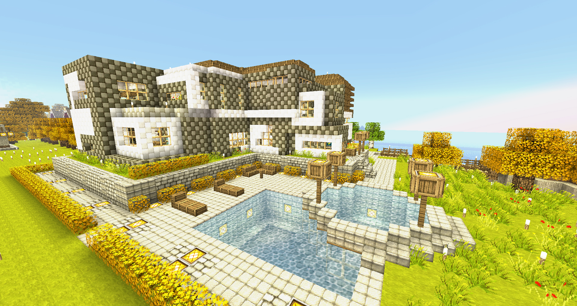Minecraft wallpapers modern house by nsgeo on deviantart for Modern home wallpaper