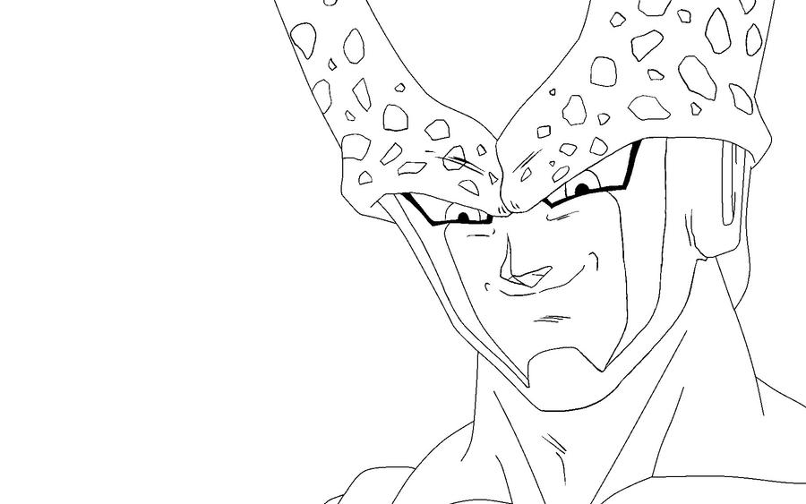 Cell lineart by ruokdbz98 on deviantart for Dragon ball z cell coloring pages
