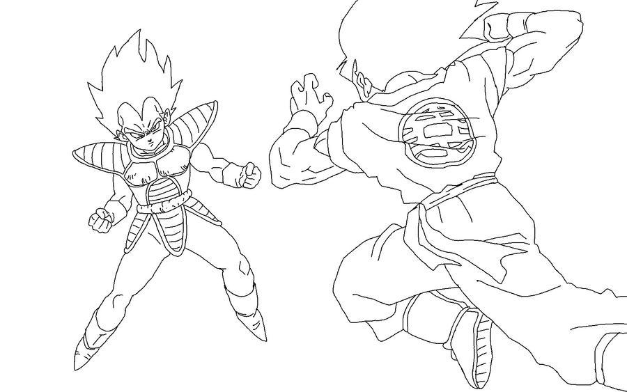 Vegeta Vs Goku Lineart by RuokDbz98 on DeviantArt