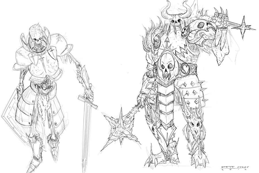 Line Drawing Knight : Skeleton knights linework by mirrors on deviantart
