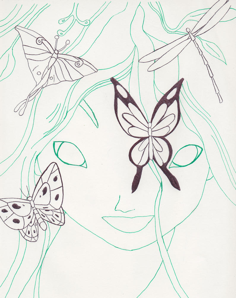 Line Art Nature : Mother nature fantasia line art by lizzie on