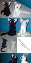 Mini Luna and Artemis plushies by Neon-Juma