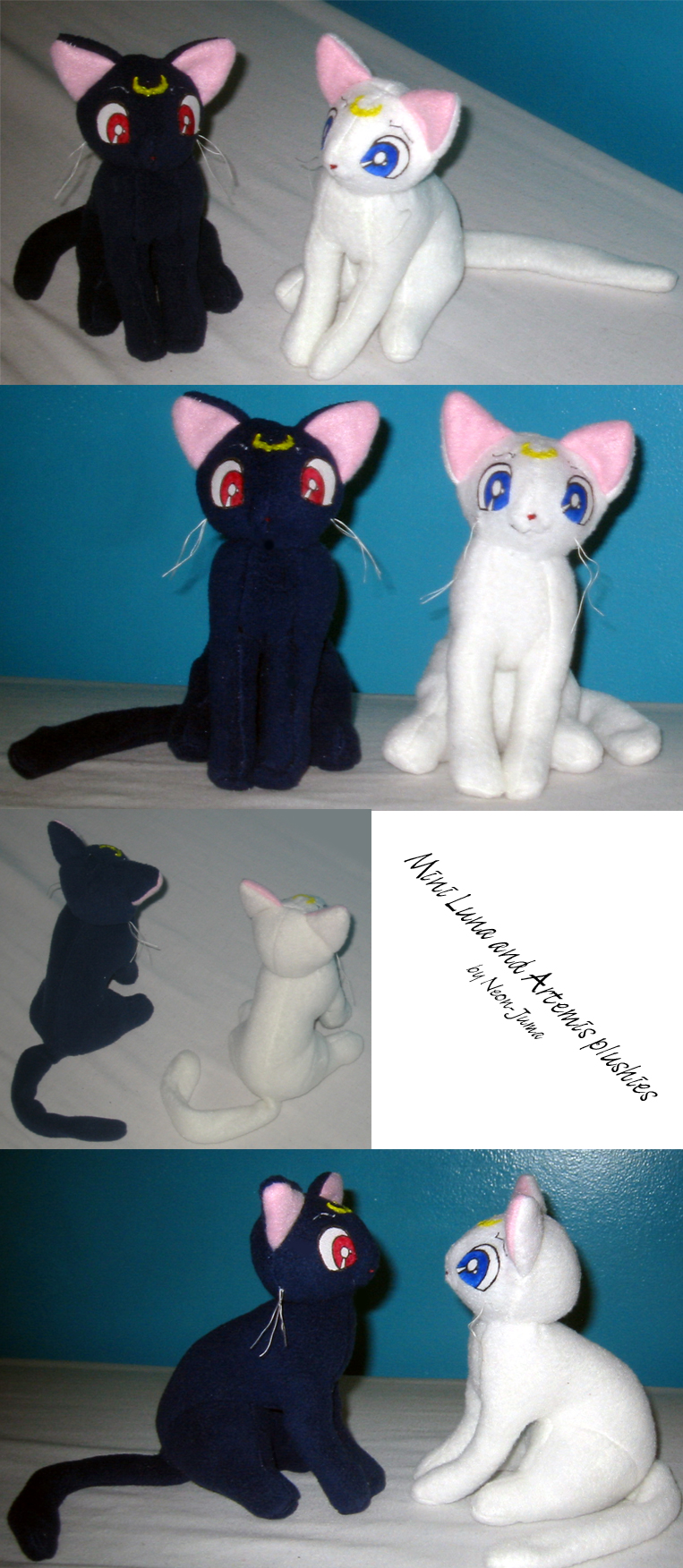 Mini Luna and Artemis plushies by Neon-Juma