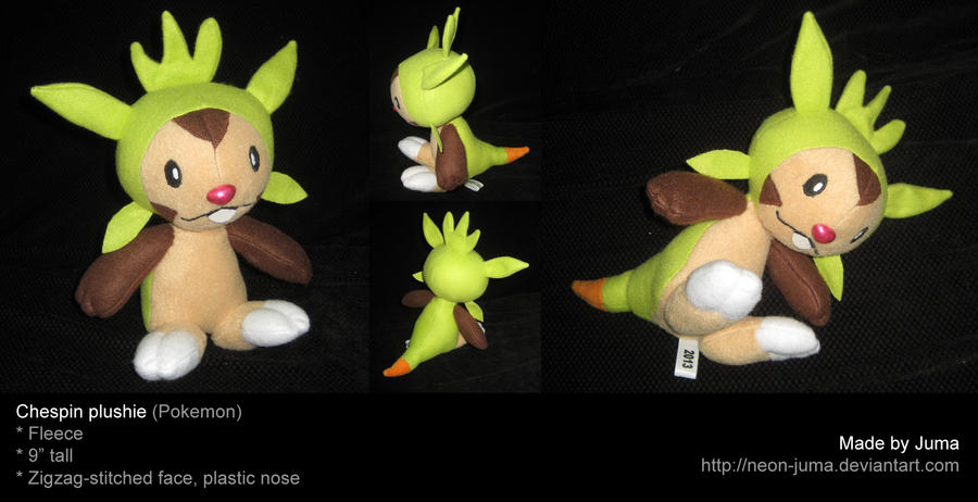 Chespin plushie by Neon-Juma