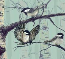 Chickadees by Wolveslair