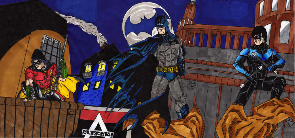 Arkham City Batman Robin Nightwing by GabRed-Hat on DeviantArt