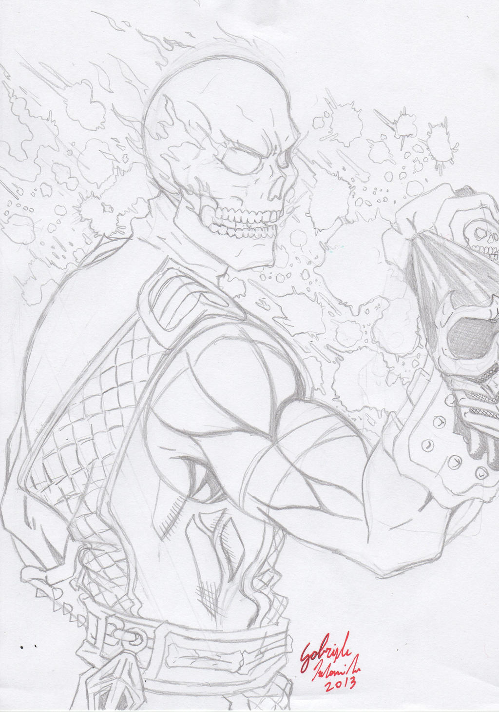 Mortal Kombat Scorpion Flame Skull 1 Pencil By Gabred Hat On