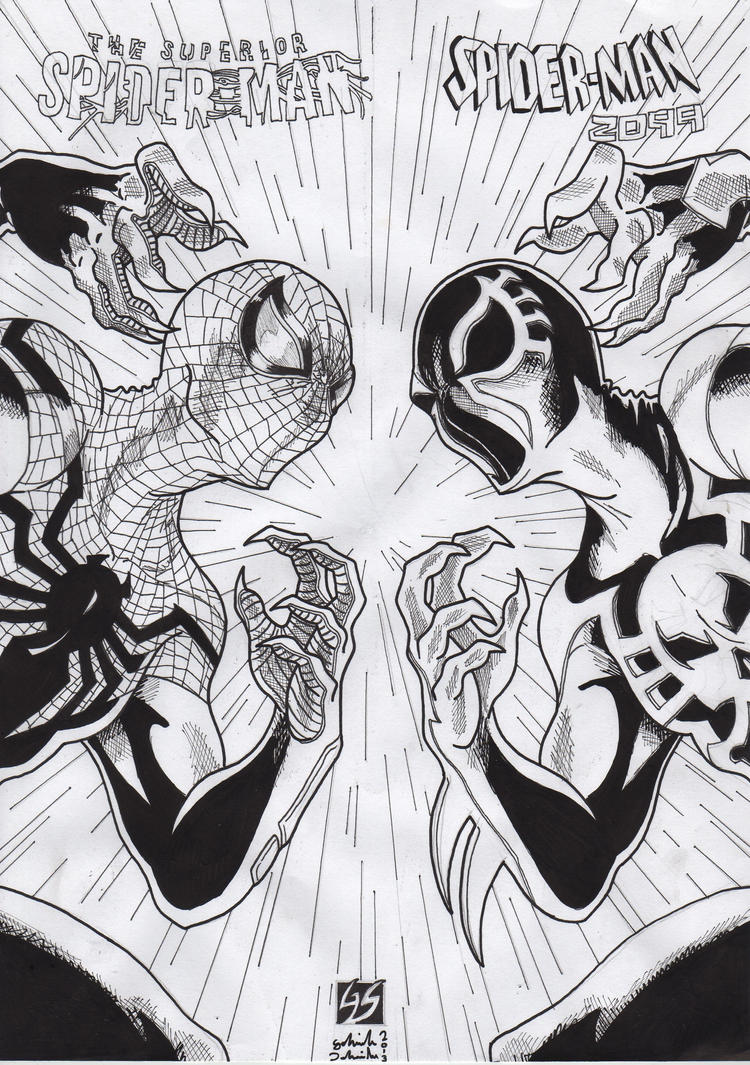 Superior spider man vs spider man 2099 ink by gabred hat for Spider man 2099 coloring pages