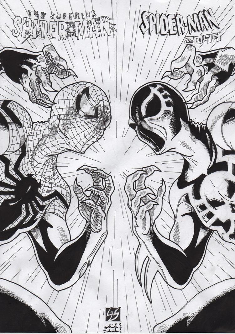 Superior Spiderman vs Spiderman 2099 ink by GabRedHat on