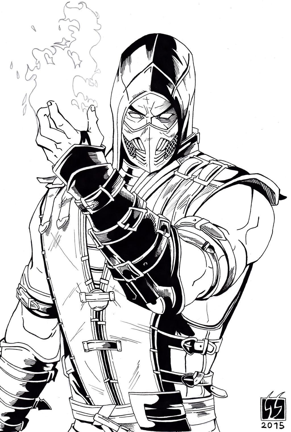 Scorpion Mortal Kombat X Black And White By Gabred Hat
