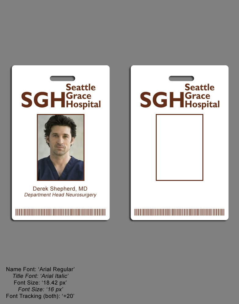 Greys anatomy seattle grace hospital i d badge set for Hospital id badge template