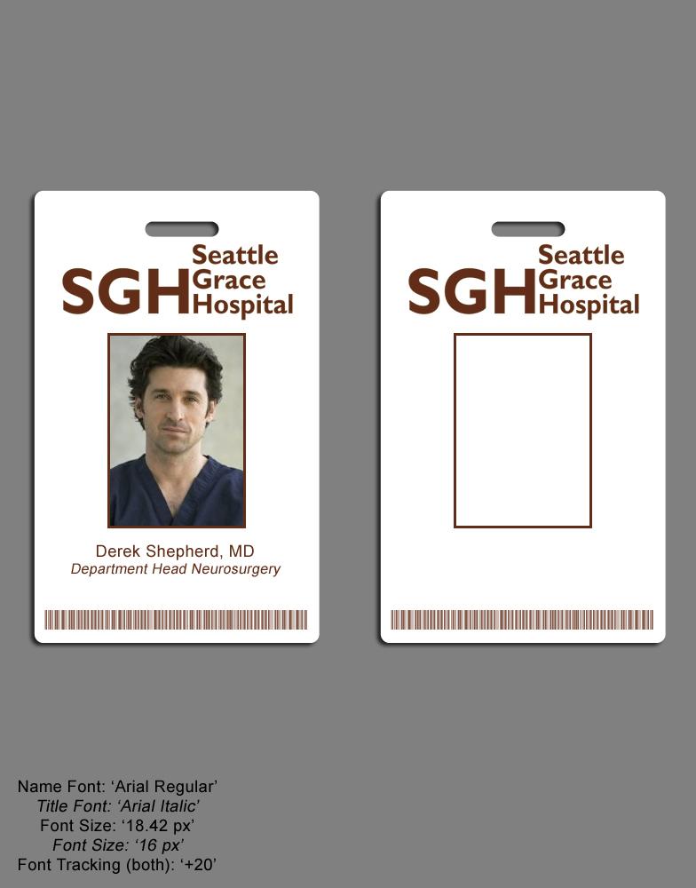 Greys anatomy seattle grace hospital i d badge set for Hospital id badge template