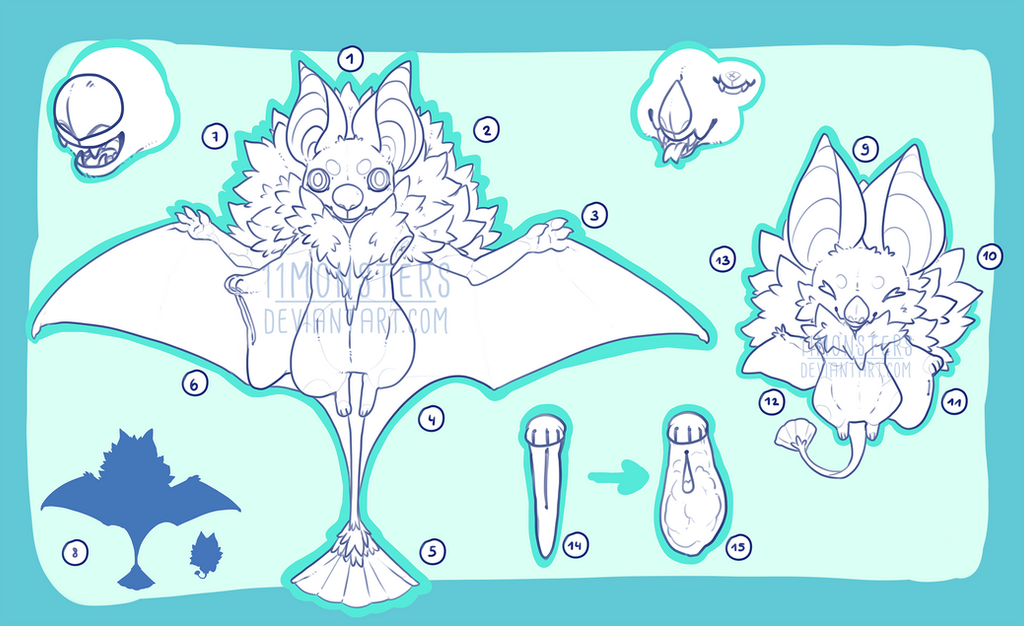 Geisha Bat Anatomy Guide by 11monsters