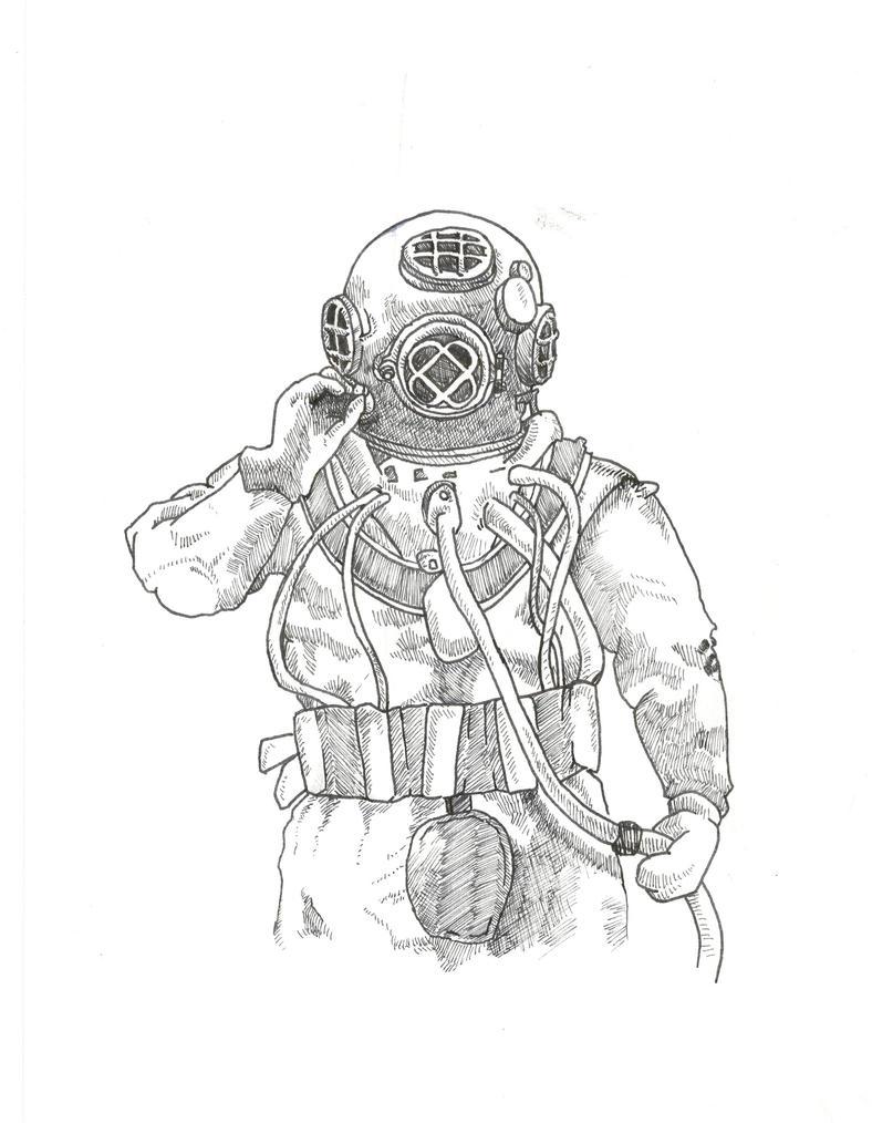 Deep sea diver sketch i by bombinart on deviantart for Deep sea diver coloring page