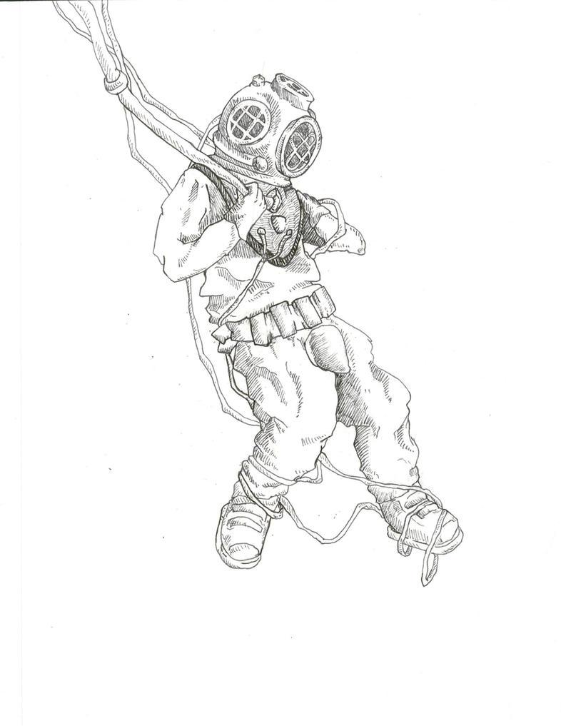 Scuba diver coloring pages printable sketch coloring page for Deep sea diver coloring page