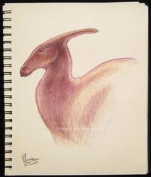 Inktober Day 21: Parasaurolophus Sketch by aviagua