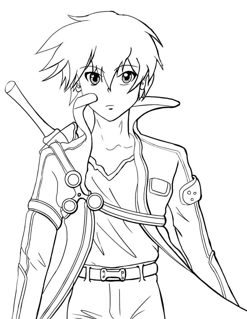 Kirito Lineart : Kirito line work by giusepec on deviantart
