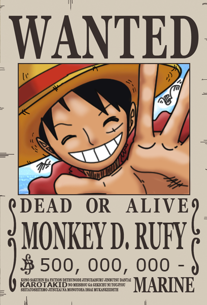 Rufy dressrosa wanted poster berry by karotakid on deviantart - One piece wanted luffy ...