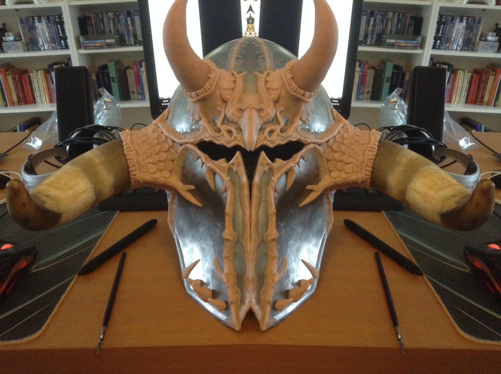 Chaos Armour WIP 10 - Tzeentchy Warrior Helm by Tiwyll
