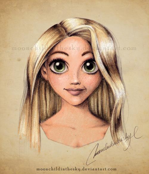 Rapunzel portrait color by moonchildinthesky