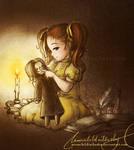 child Lily with snapie plushy by MoonchildinTheSky