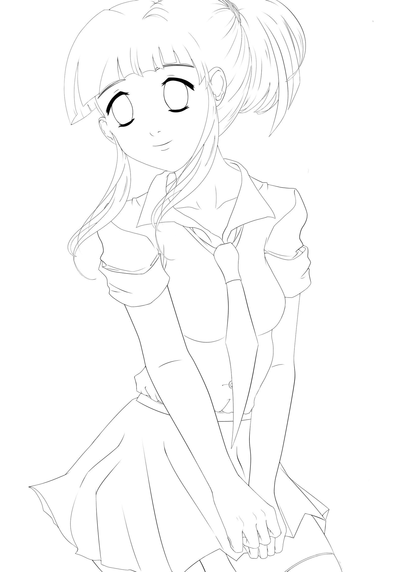 Anime Girl - Outline by UnderHisLight on DeviantArt