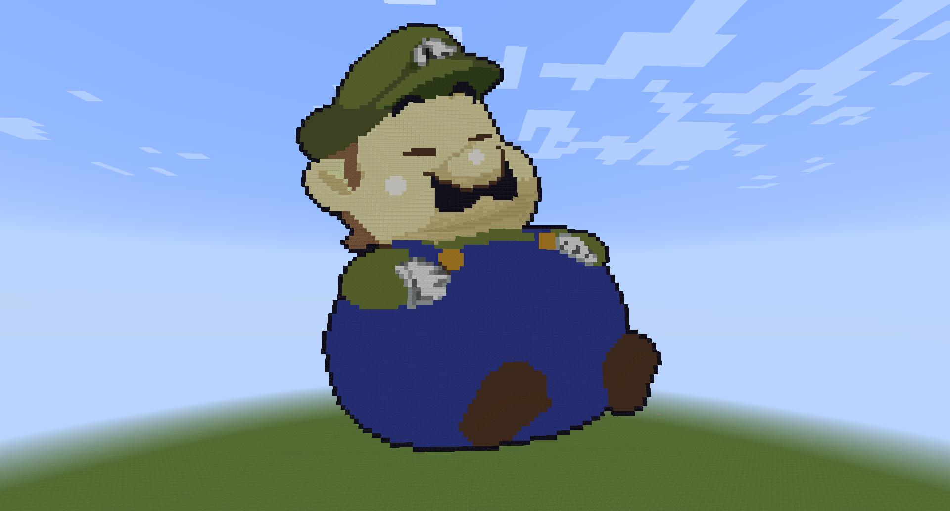 Baby Luigi Pixel Art Chubby Luigi Pixel Art by Minecraft Diamond Wallpaper 1920x1080