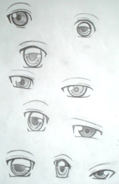 how to draw eyes in different perspectivesw