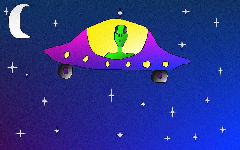 Alien in a ufo by blood moon1979