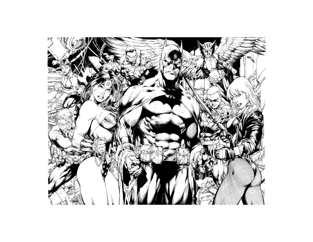 JLA - Recreate Inks on Benes Pencils (blueline) by JPMayer