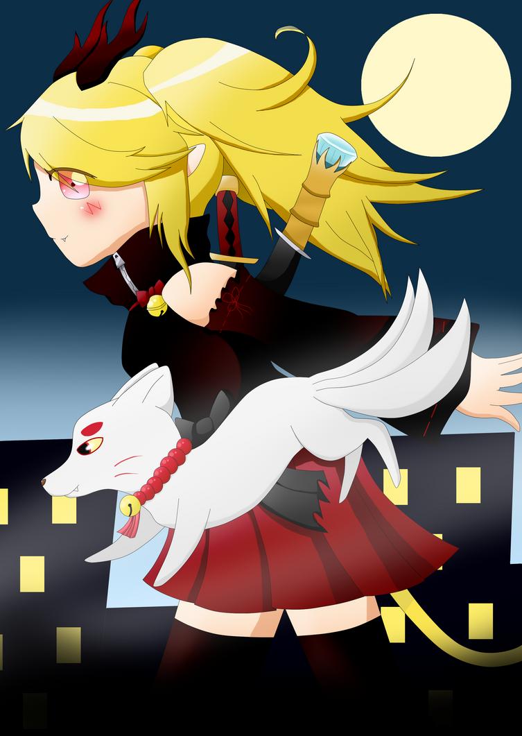 Akko and her familiar by satohika2722