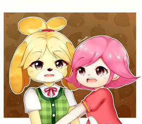 Isabelle and Villager Girl (Animal Crossing)