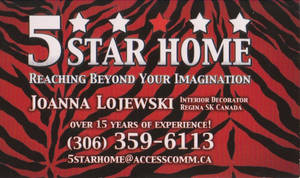 5 star homes card. front.