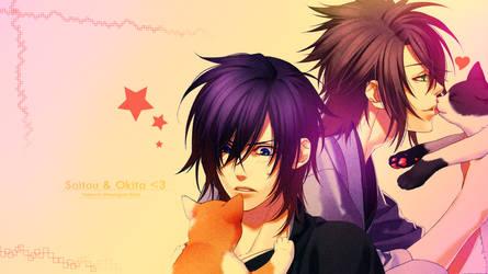 .:Saitou and Okita wall:. by xMarsXXX