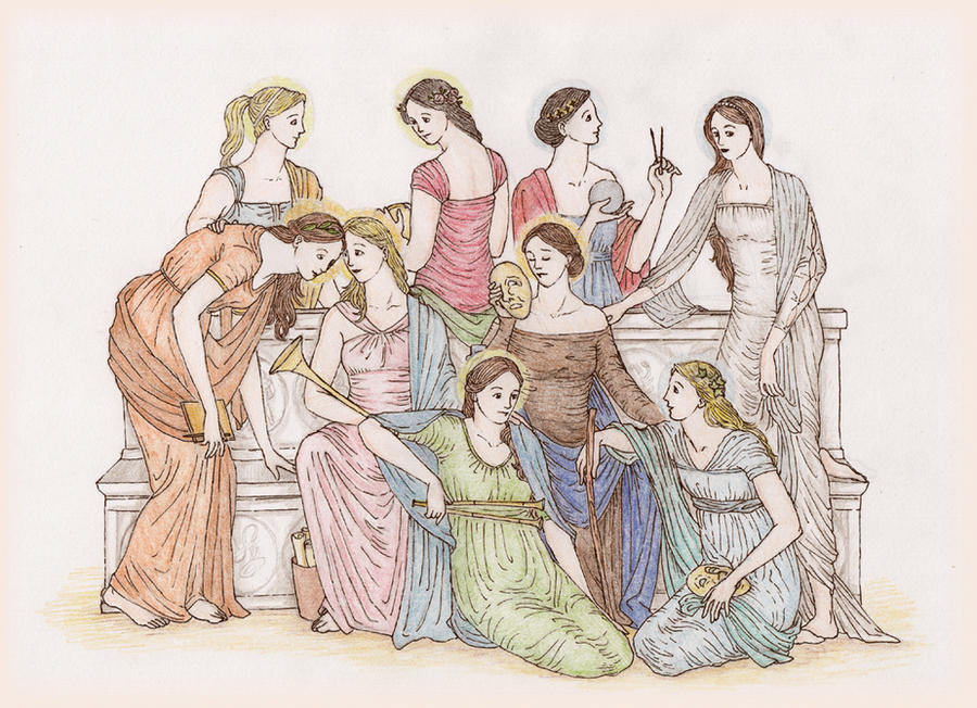 olympian gods group 2 muses picture olympian gods group