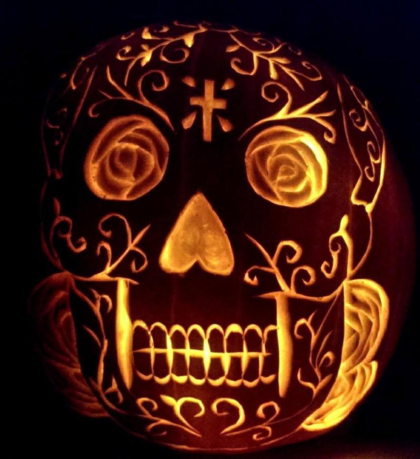 Sugar skull pumpkin by davidjoseortiz on deviantart