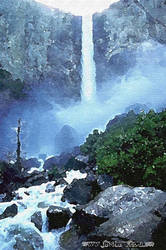 Waterfall Oil Painting by shires