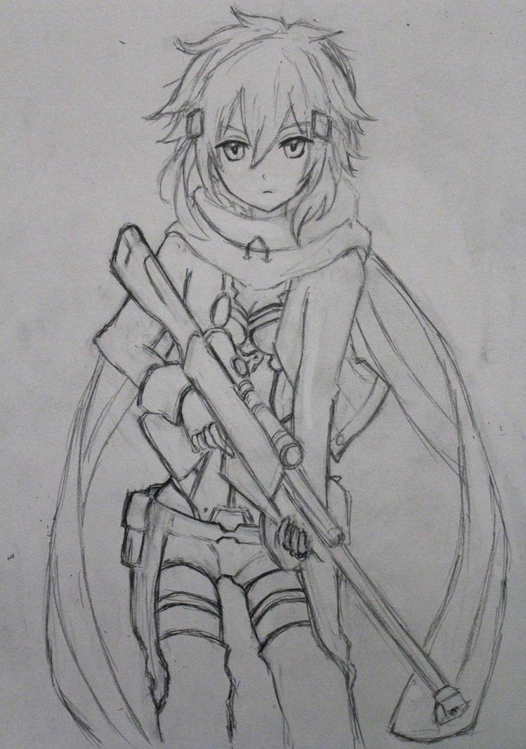 Sinon Sketch By Lulupapercranes On DeviantArt