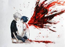 Kaneki and Touka by lulupapercranes