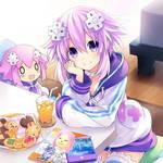 Neptune and Nepu Mii take a rest.