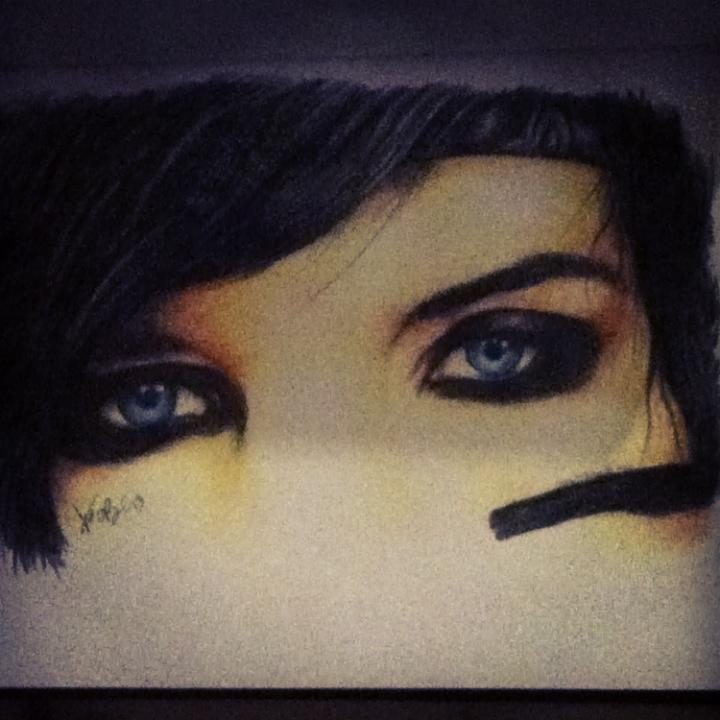 Andy Biersacks Eyes: colored pencil by RedEyedDemon