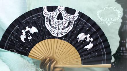 Rococo Skull Folding Fan