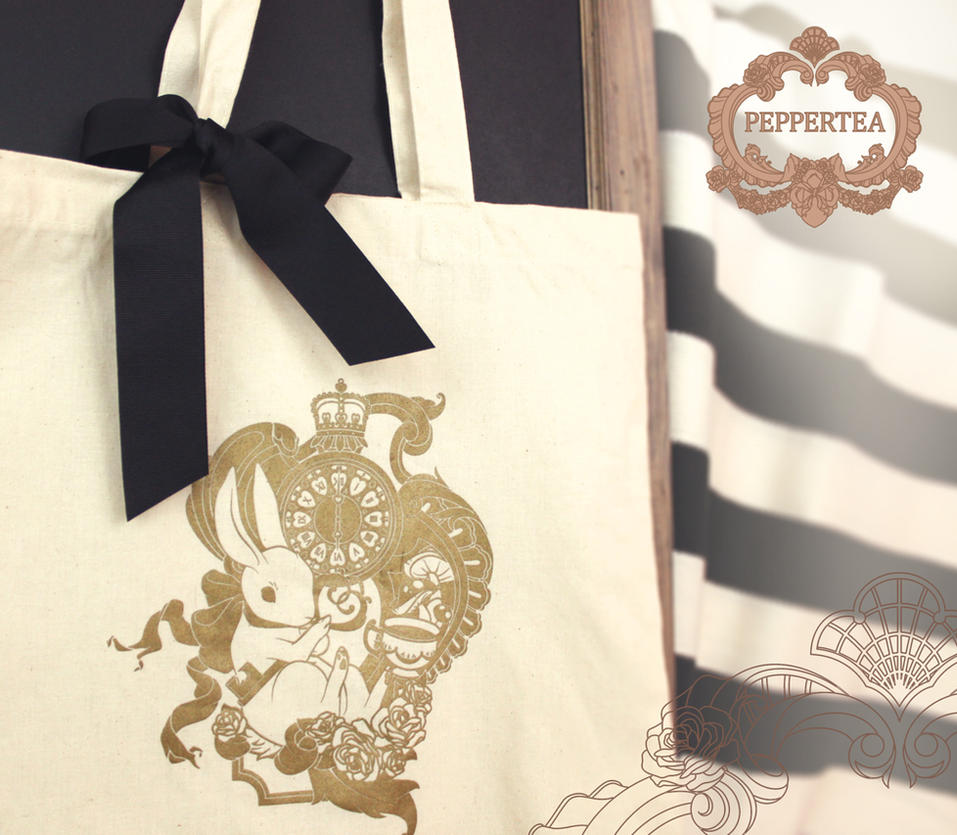 White Rabbit Tote Bag by pepper-tea