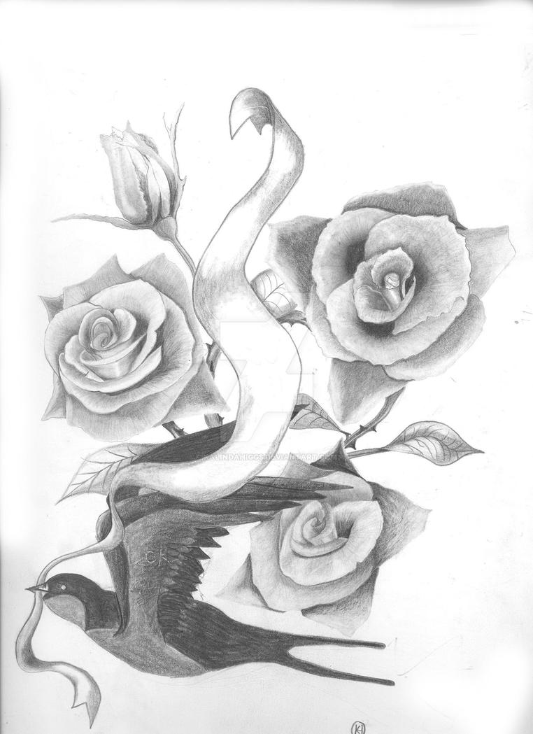 Three roses and swallow by kalindahiggs on deviantart for 3 roses tattoo