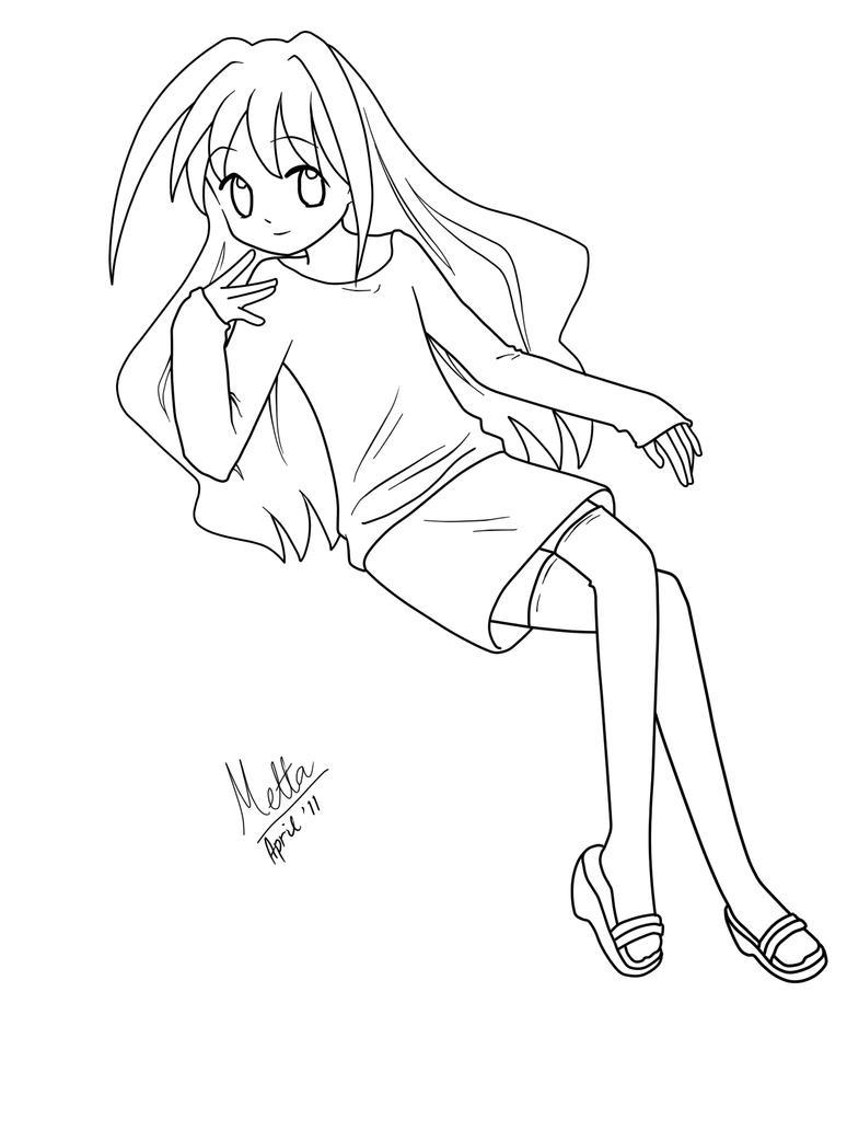 Line Drawing Little Girl : Little girl lineart by namimetta on deviantart