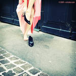 No shoes with her pink dress