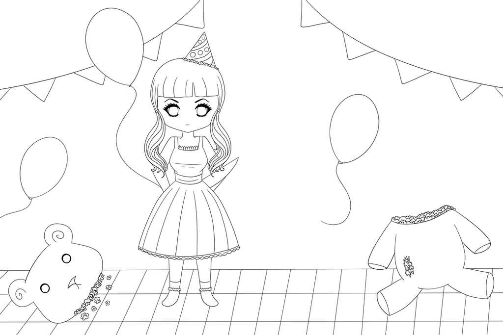 Melanie Martinez - Pity Party (Lineart) by deviruchii