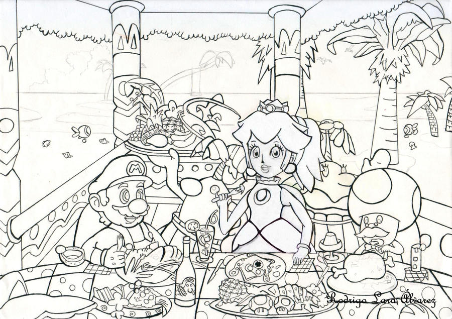 mario brothers sunshine coloring pages - photo#3