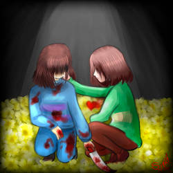 Chara and Frisk   Undertale -You did it very well- by LunaSyney